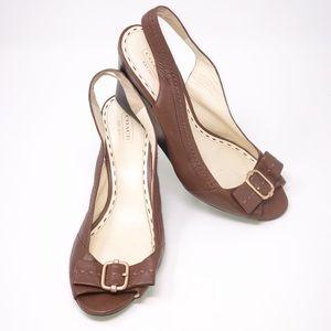 COACH CIARA Brown Leather Slingback Wedge-Size 10B